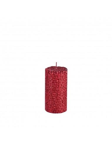 Bougie droite Perles rouges D7 H15 cm